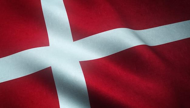 Closeup tiro da bandeira da dinamarca agitando