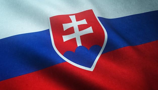 Closeup tiro da bandeira da eslováquia acenando