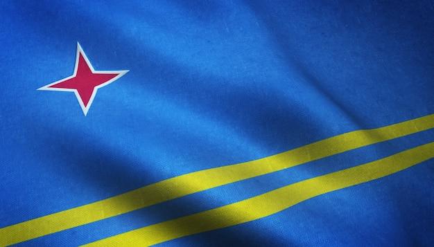 Closeup tiro da bandeira de aruba agitando