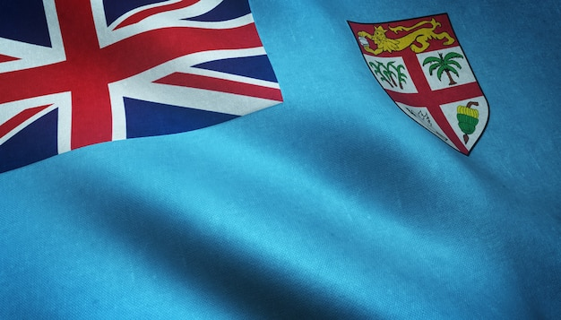 Closeup tiro da bandeira realista de fiji com texturas interessantes