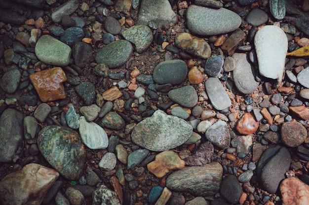 Closeup tiro de seixos e pedras
