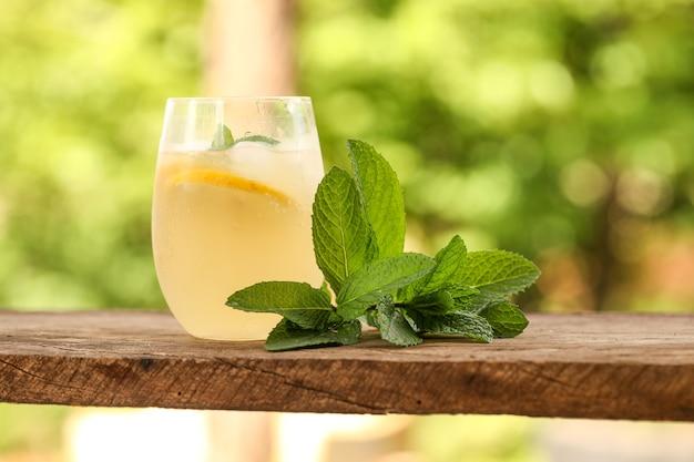 Closeup tiro de um copo de limonada gelada com folhas de hortelã