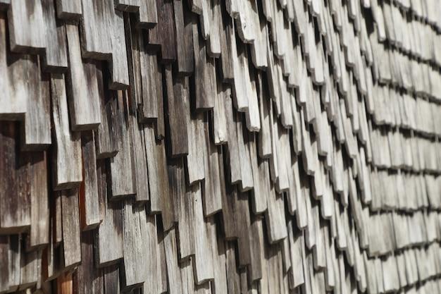 Closeup tiro de um telhado de madeira