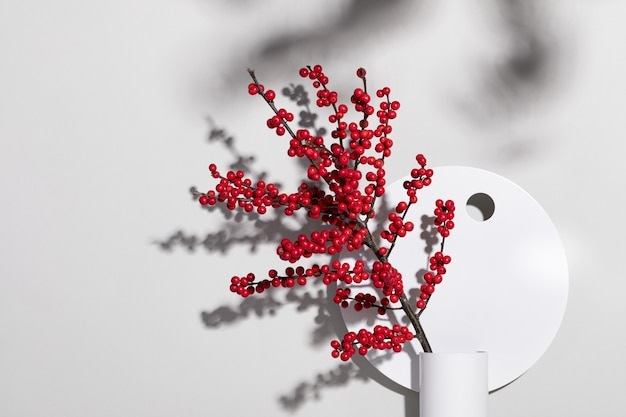 Closeup tiro de um vaso decorativo com frutas vermelhas silvestres contra uma parede branca