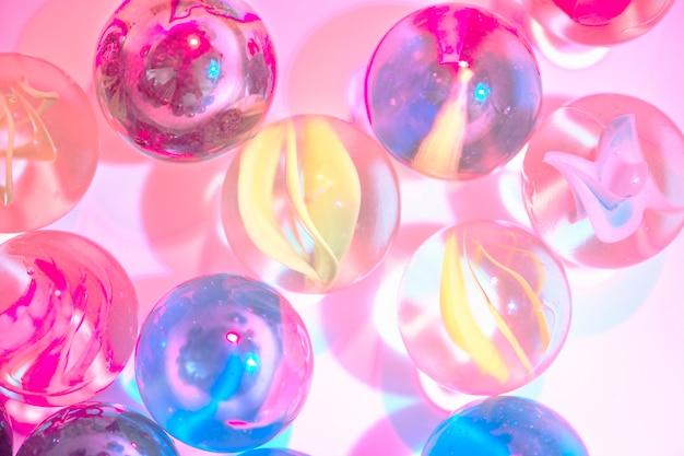 Closeup, tiro, de, vidro, mármores