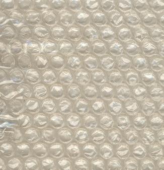 Closeup vista da bolha de ar de polietileno para embalagem à prova de choque