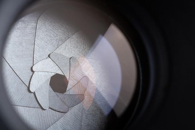 Closeup, vista, de, abertura, lâminas, de, retro, foto, lente
