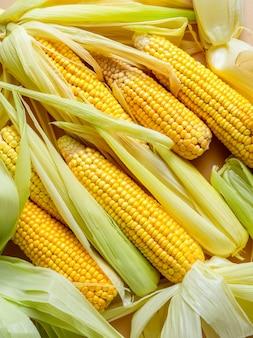 Closeup vista de espigas de milho amarelo cru com folhas