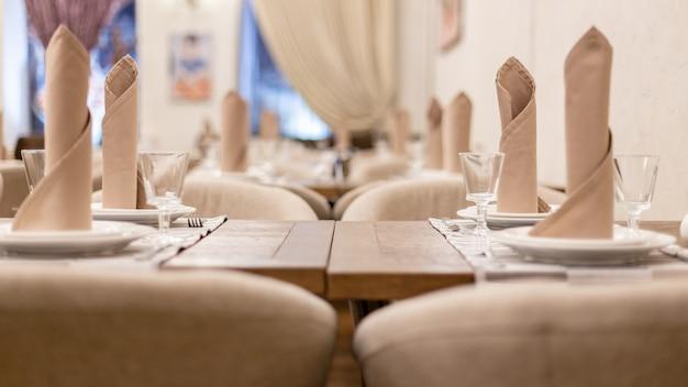 Closeup, vista, de, tabelas, em, um, restaurante