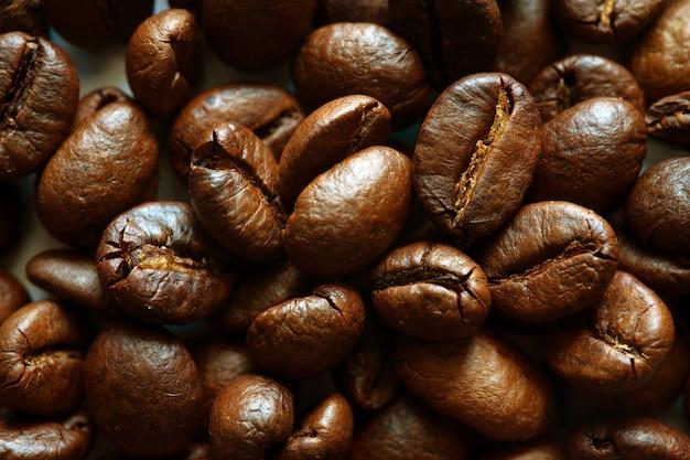 Closeup vista superior de grãos de café