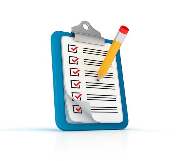 Clpboard 3d com lista de verificação e lápis