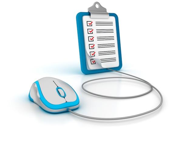 Clpboard 3d com lista de verificação e mouse de computador