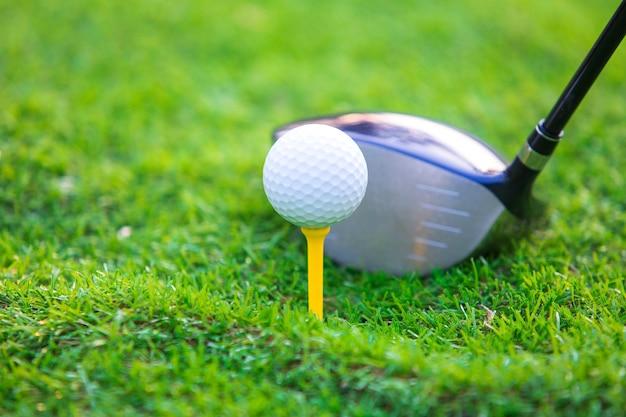 Clube de golfe e bola de golfe fechar na grama