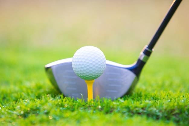 Clube golfe, e, bola grama