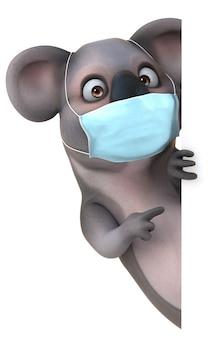 Coala de desenho animado 3d divertido com uma máscara