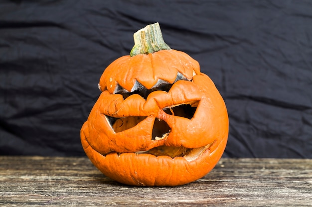 Coberto de mofo e lâmpada de abóbora podre de mofo para o halloween, a lâmpada de jack está coberta de mofo e parece terrível e assustadora, close-up
