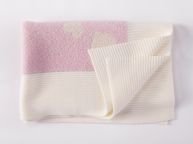 Cobertor de lã de alpaca rosa macio e quente dobrado com franja