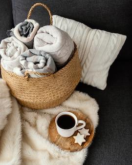 Cobertores de malha de perto