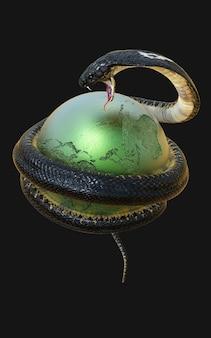 Cobra-rei cobra ao redor do planeta terra mapa do globo simbolizando o perigo isolado em um fundo escuro com traçado de recorte