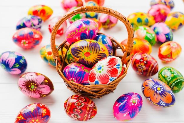 Cobrança, de, ovos páscoa, em, cesta