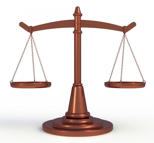 Cobre escalas justiça isolado no fundo branco, renderização em 3d