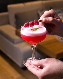Cocktail clover club jin framboesa syrop suco de limão ovo branco menta vista lateral