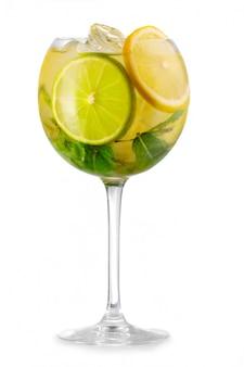 Cocktail de álcool com hortelã fresca e frutas solated