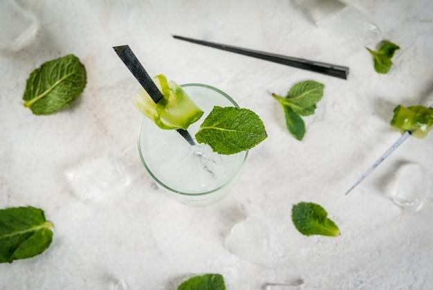 Cocktail de gin e tónico de pepino