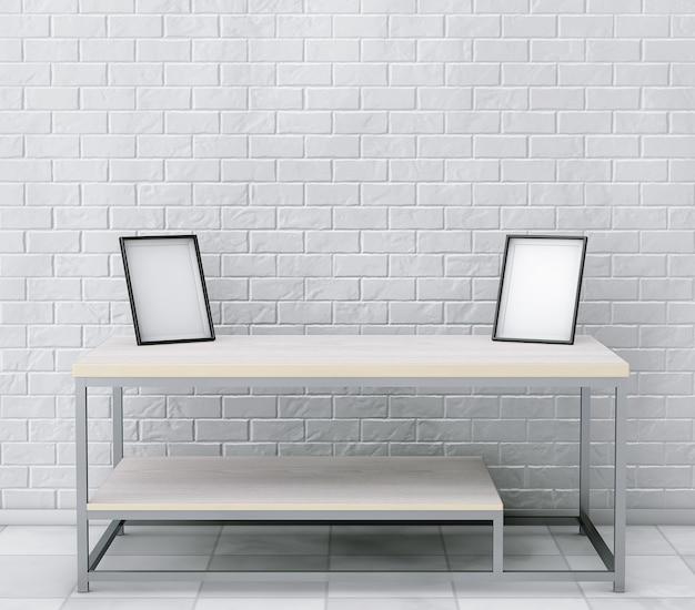 Cocktail de madeira simples e mesa de café com molduras em branco na frente da parede de tijolos. renderização 3d