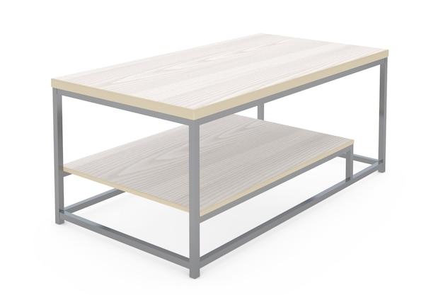 Cocktail de madeira simples e mesa de centro em um fundo branco. renderização 3d