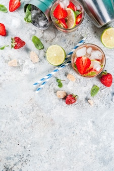 Cocktail de mojito de morango