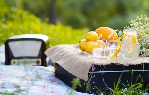 Cocktail de verão com limões, servido no jardim