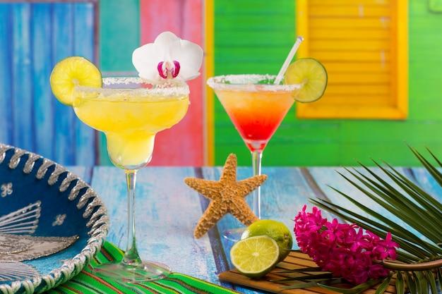 Cocktails margarita mexicana e sexo na praia