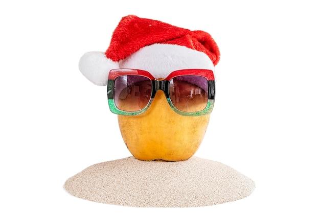 Coco amarelo fresco em um chapéu de papai noel vermelho com óculos de sol vermelhos e verdes