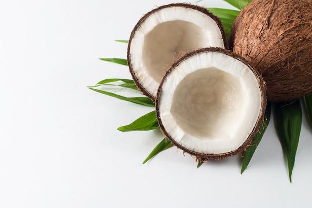 Coco com folhas verdes em um fundo branco.
