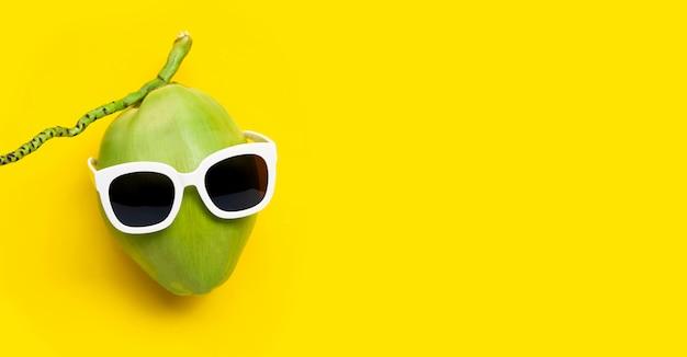 Coco com óculos de sol sobre fundo amarelo.