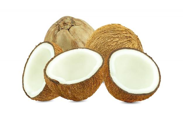 Coco cortado em metades
