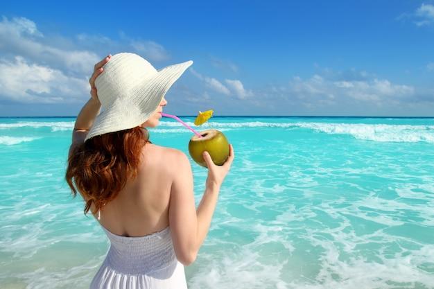 Coco, fresco, coquetel, perfil, praia, mulher, bebendo