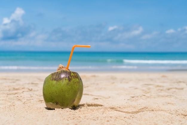 Coco fresco na areia no céu azul da praia de verão.