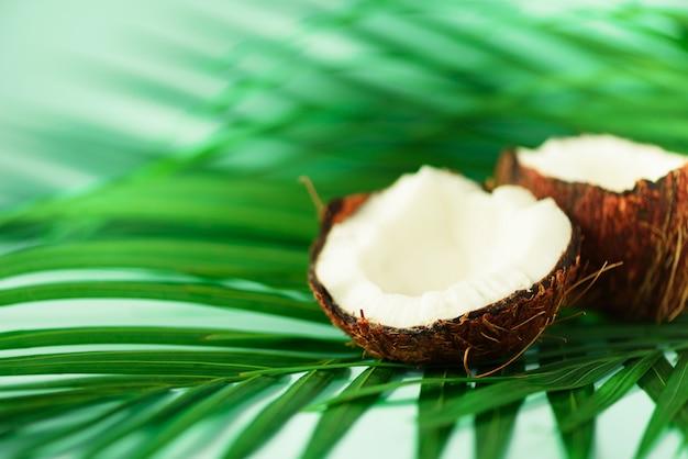 Coco sobre folhas de palmeira verdes tropicais no fundo de turquesa. comida vegetariana crua.