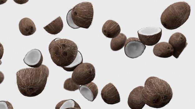 Cocos caindo em branco
