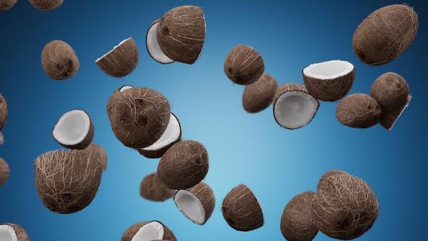 Cocos caindo no azul