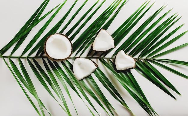 Cocos quebrados em fundo branco na folha. polpa de coco branca. foto de alta qualidade