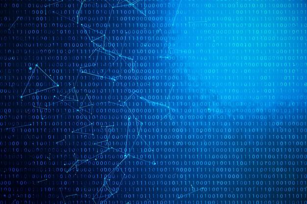 Código binário da ilustração 3d no fundo azul. bytes de código binário. conceito de tecnologia. fundo binário digital. conexão alinhada e pontos, rede global.