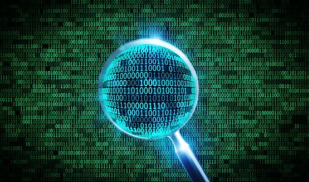Código binário e lupa