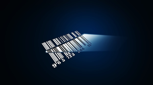 Código de barras para mercadorias em um fundo azul. ilustração