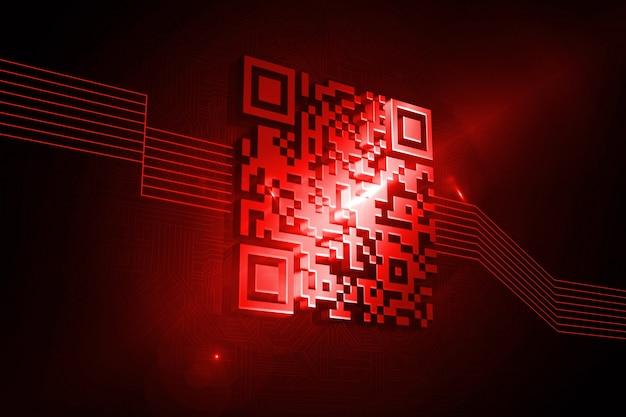 Código de barras vermelho brilhante no fundo preto