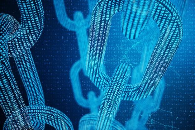 Código digital da corrente do bloco da ilustração 3d. grade poligonal baixa de triângulos brilhando na rede de pontos azuis