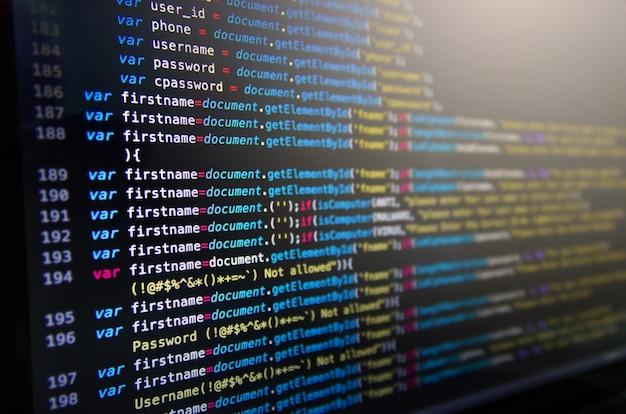 Código fonte da área de trabalho e papel de parede por linguagem de computador com codificação e programação.