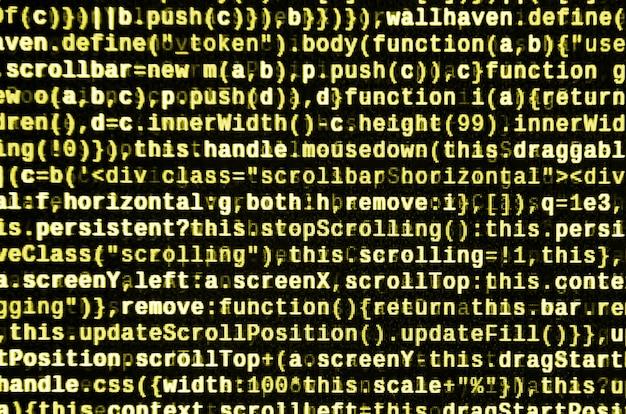 Código javascript no editor de texto. conceito de ciberespaço de codificação. tela do código de desenvolvimento da web